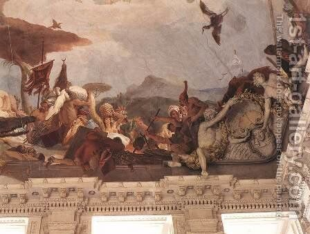 Apollo and the Continents (America, right-hand side) 1752-53 by Giovanni Battista Tiepolo - Reproduction Oil Painting