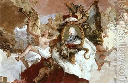 Apollo and the Continents (detail-2) 1752-53 by Giovanni Battista Tiepolo - Reproduction Oil Painting