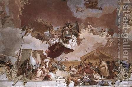 Apollo and the Continents (Europe, overall view) 1752-53 by Giovanni Battista Tiepolo - Reproduction Oil Painting
