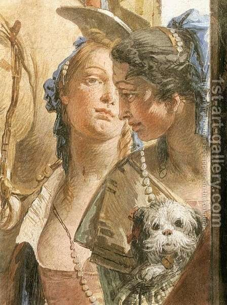The Banquet of Cleopatra (detail-6) 1746-47 by Giovanni Battista Tiepolo - Reproduction Oil Painting