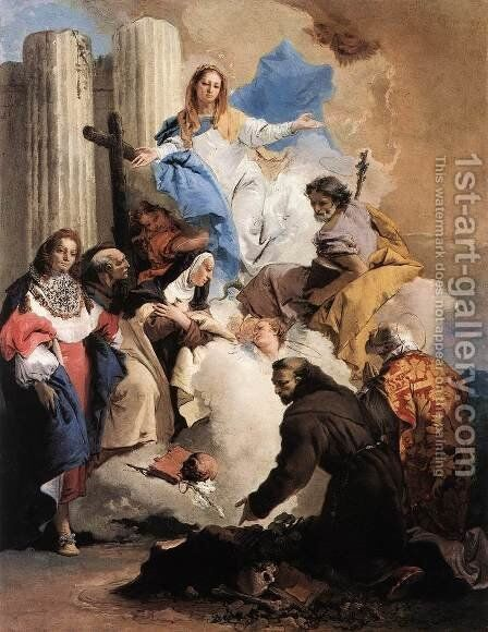 The Virgin with Six Saints 1737-40 by Giovanni Battista Tiepolo - Reproduction Oil Painting