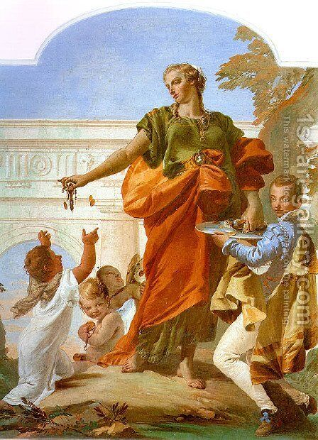 Generosity Bestowing her Gifts 1734 by Giovanni Battista Tiepolo - Reproduction Oil Painting
