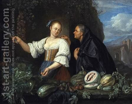 A Vegetable Seller 1670s by Jacob Toorenvliet - Reproduction Oil Painting