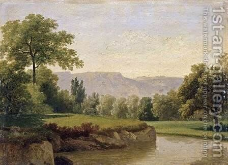 River Landscape 1820s by Adam-Wolfgang Topffer - Reproduction Oil Painting