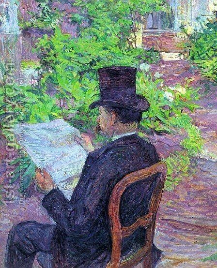 Desire Dihau Reading a Newspaper in the Garden 1890 by Toulouse-Lautrec - Reproduction Oil Painting