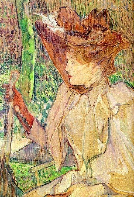 Portrait of Honorine Platzer (Woman with Gloves) 1891 by Toulouse-Lautrec - Reproduction Oil Painting