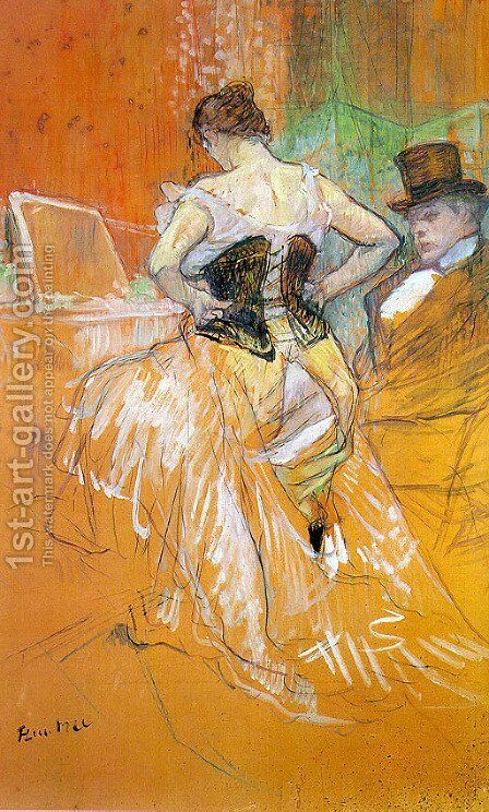 """Study for """"Elles"""" (Woman in a Corset) 1896 by Toulouse-Lautrec - Reproduction Oil Painting"""
