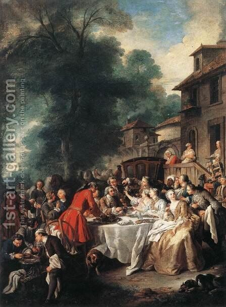 A Hunting Meal 1737 by Jean François de Troy - Reproduction Oil Painting