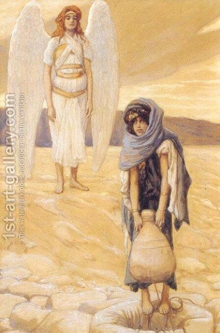 Hagar and the Angel in the Desert 1896-1900 by James Jacques Joseph Tissot - Reproduction Oil Painting
