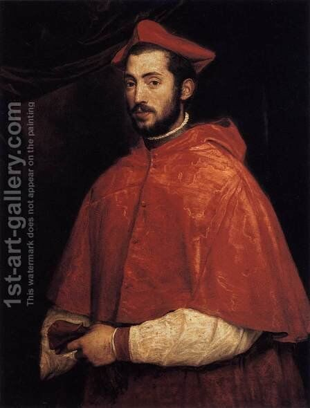 Cardinal Alessandro Farnese 1545-46 by Tiziano Vecellio (Titian) - Reproduction Oil Painting