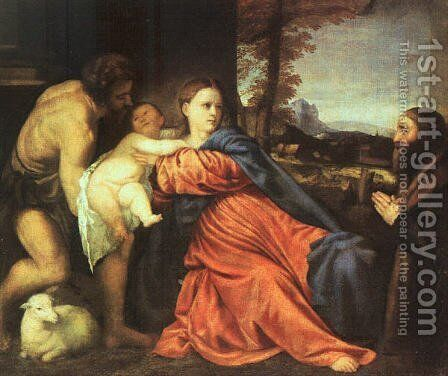Holy Family and Donor 1513-14 by Tiziano Vecellio (Titian) - Reproduction Oil Painting