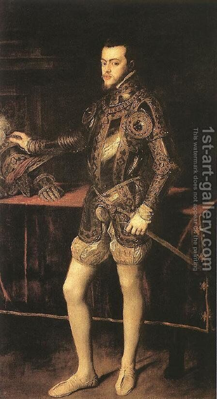 King Philip II 1551 by Tiziano Vecellio (Titian) - Reproduction Oil Painting