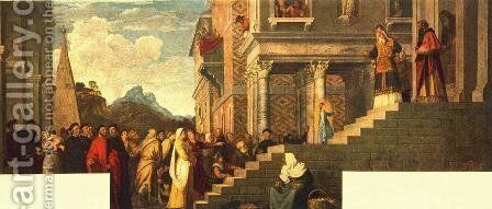 Presentation of the Virgin at the Temple 1539 by Tiziano Vecellio (Titian) - Reproduction Oil Painting