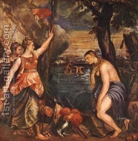 Religion Helped by Spain c. 1571 by Tiziano Vecellio (Titian) - Reproduction Oil Painting