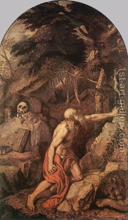 St Jerome c. 1560 by Tiziano Vecellio (Titian) - Reproduction Oil Painting