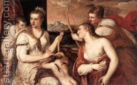 Venus Blindfolding Cupid c. 1565 by Tiziano Vecellio (Titian) - Reproduction Oil Painting