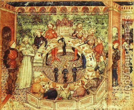 Sir Galahad Presented to take his Place with the Knights of the Round Table by British Unknown Master - Reproduction Oil Painting