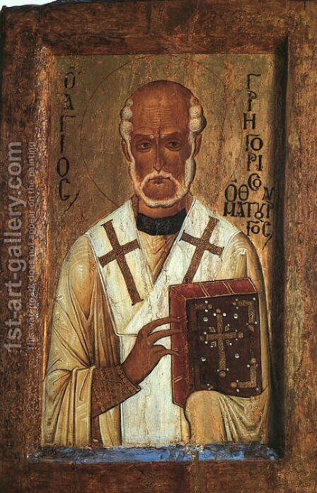 Icon of Saint Grigorii the Miracle-Worker  (12th century) by Byzantine Unknown Master - Reproduction Oil Painting