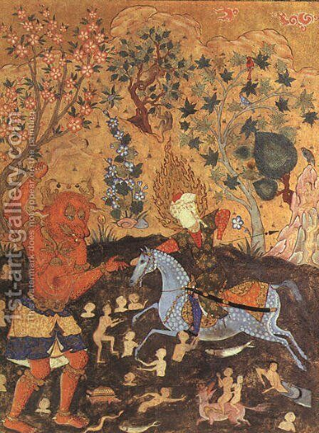 Rider Fighting a Daeva (page from Falnama -The Book of Omens) 1550 by Iranian Unknown Masters - Reproduction Oil Painting