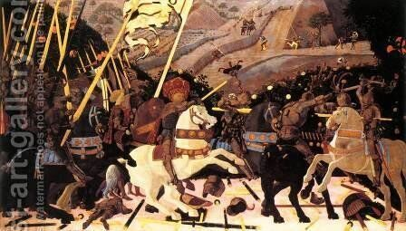 Niccolo da Tolentino Leads the Florentine Troops 1450s by Paolo Uccello - Reproduction Oil Painting