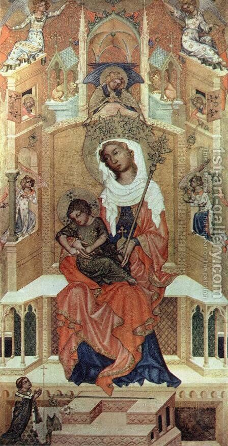 Virgin Enthroned c. 1350 by Bohimian Unknown Masters - Reproduction Oil Painting