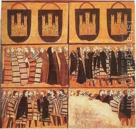 Tomb of Don Sancho Saiz de Carillo (detail-1) c. 1300 by Catalan Unknown Masters - Reproduction Oil Painting