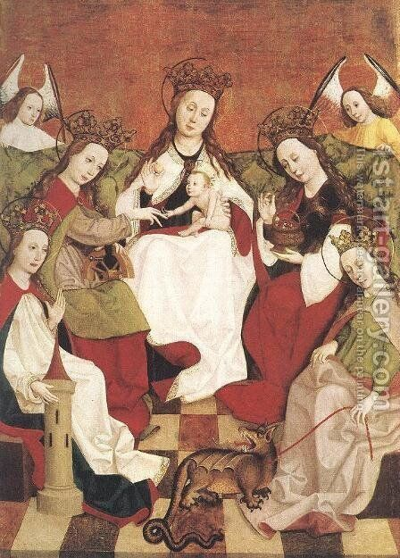 Marriage of Saint Catherine c. 1500 by Hungarian Unknown Masters - Reproduction Oil Painting