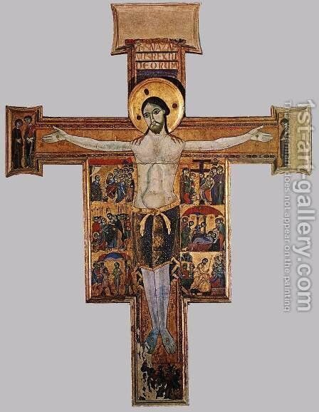 Crucifix with the Stories of the Passion (around 1200) by Italian Unknown Masters - Reproduction Oil Painting