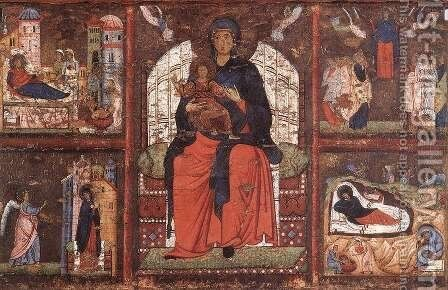 Virgin and Child Enthroned with Scenes from the Life of the Virgin 1270-75 by Italian Unknown Masters - Reproduction Oil Painting