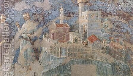 Castle on a Hill 1300-25 by Italian Unknown Masters - Reproduction Oil Painting