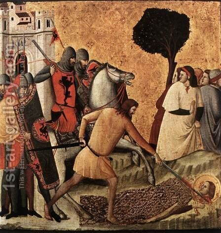 Scenes from the Life of St Colomba (Beheading of St Colomba) c. 1340 by Italian Unknown Masters - Reproduction Oil Painting