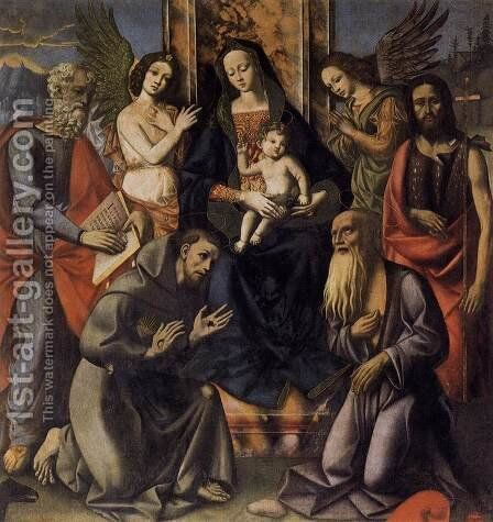 Virgin and Child with Four Saints c. 1520 by Italian Unknown Masters - Reproduction Oil Painting