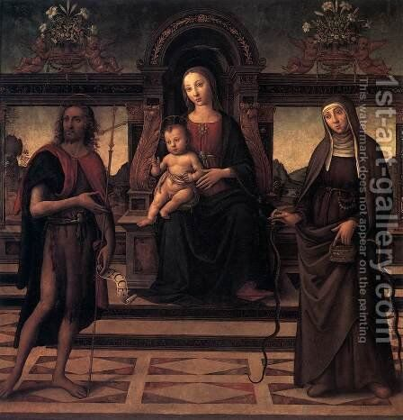 Virgin and Child with Sts John the Baptist and Verdiana 1490s by Italian Unknown Masters - Reproduction Oil Painting