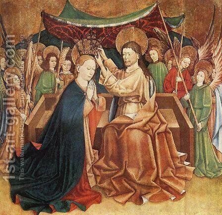 Coronation of Mary 1400-50 by Spanish Unknown Masters - Reproduction Oil Painting
