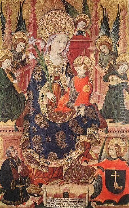 Madonna with Angels Playing Music and Donor 1439 by Spanish Unknown Masters - Reproduction Oil Painting