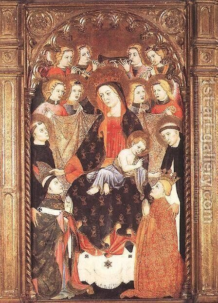 Virgin and Child with Angels and Saints 1400-25 by Spanish Unknown Masters - Reproduction Oil Painting