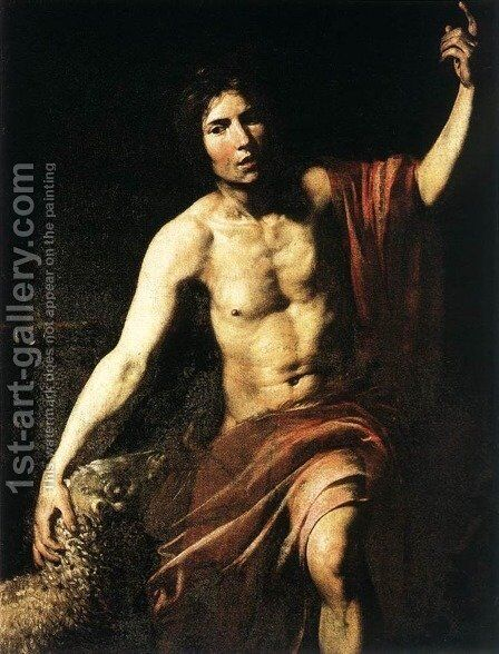 St John the Baptist 1628-30 by Jean de Boulogne Valentin - Reproduction Oil Painting