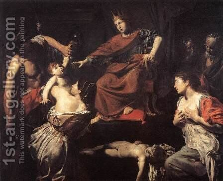 The Judgment of Solomon c. 1625 by Jean de Boulogne Valentin - Reproduction Oil Painting