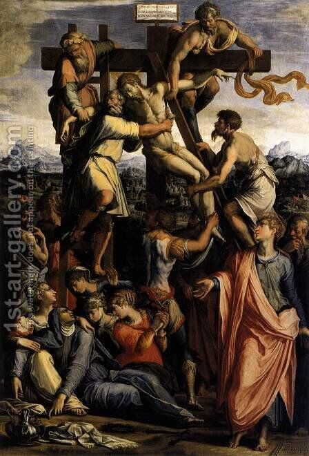 Deposition from the Cross c. 1540 by Giorgio Vasari - Reproduction Oil Painting