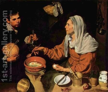 Old Woman Frying Eggs 1618 by Velazquez - Reproduction Oil Painting