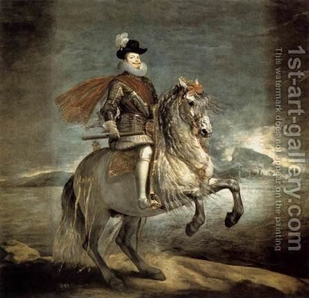 Philip III on Horseback 1634-35 by Velazquez - Reproduction Oil Painting
