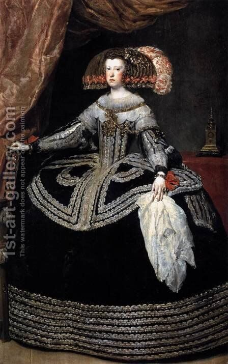 Queen Dona Mariana of Austria 1652-53 by Velazquez - Reproduction Oil Painting