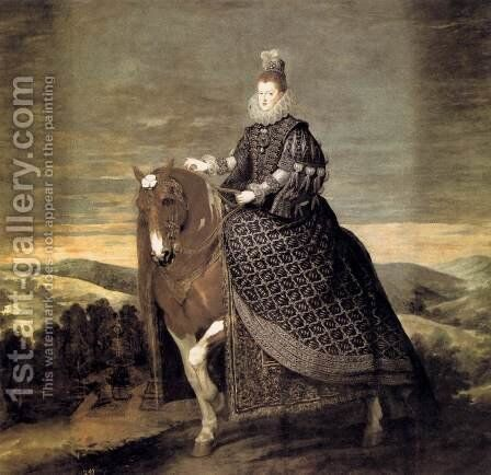 Queen Margarita on Horseback 1634-35 by Velazquez - Reproduction Oil Painting