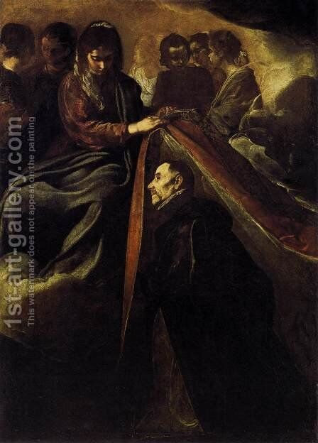 St Ildefonso Receiving the Chasuble from the Virgin c. 1620 by Velazquez - Reproduction Oil Painting