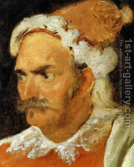 The Buffoon Don Cristobal de Castaneda y Pernia (detail) 1637-40 by Velazquez - Reproduction Oil Painting