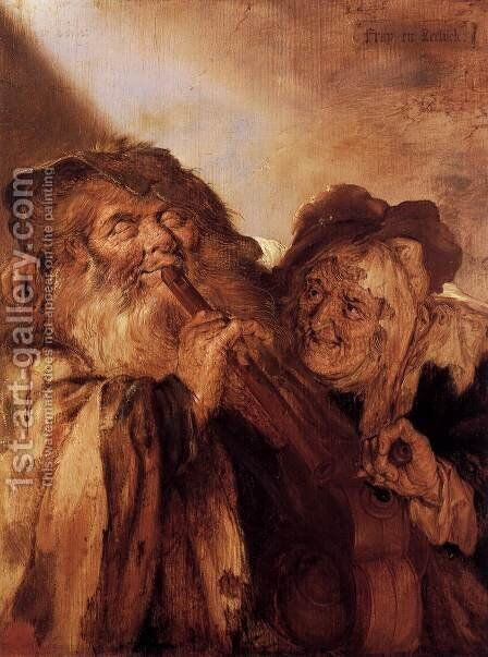 Beggars Playing Pipes & a Hurdy-Gurdy (The Beautiful and the Ugly) by Adriaen Pietersz. Van De Venne - Reproduction Oil Painting