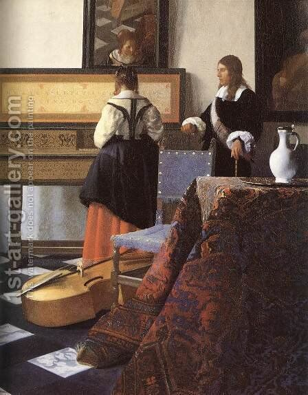 A Lady at the Virginals with a Gentleman (detail-1) 1662-65 by Jan Vermeer Van Delft - Reproduction Oil Painting