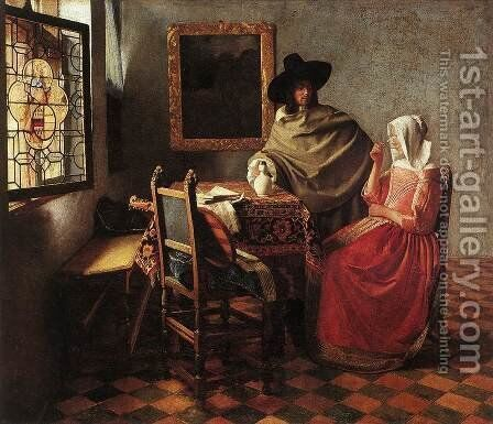 A Lady Drinking and a Gentleman c. 1658 by Jan Vermeer Van Delft - Reproduction Oil Painting