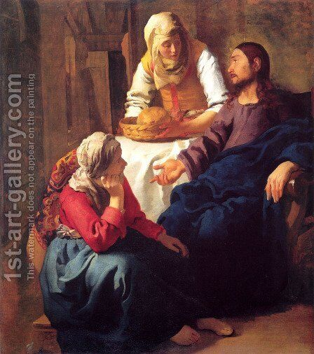 Christ in the House of Martha and Mary 1654-55 by Jan Vermeer Van Delft - Reproduction Oil Painting
