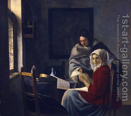 Girl Interrupted at Her Music 1660-61 by Jan Vermeer Van Delft - Reproduction Oil Painting